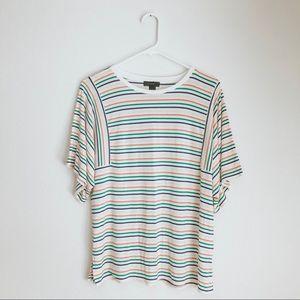 J Crew 🌈 Rainbow Striped Flutter Sleeve Tee